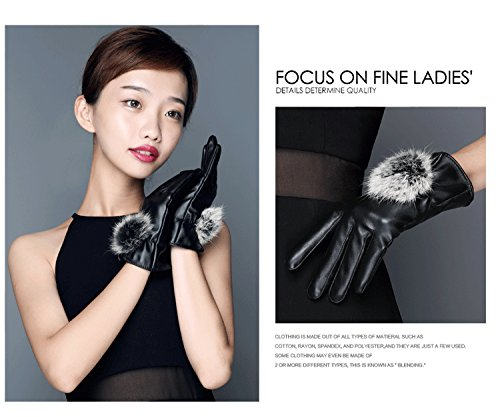 Generic Ladies_ women girls glove gloves _Touch_Screen_ autumn winter cute _rabbit hair bulb_plus_velvet_Outdoor_Cycling_warm_wind_ students leather glove gloves