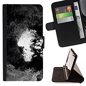 GIFT CHOICE / Billetera de cuero Estuche protector Cáscara Funda Caja de la carpeta Cubierta Caso / Wallet Case for Apple Iphone 6 PLUS 5.5 // Black and White Cloudy Painting //