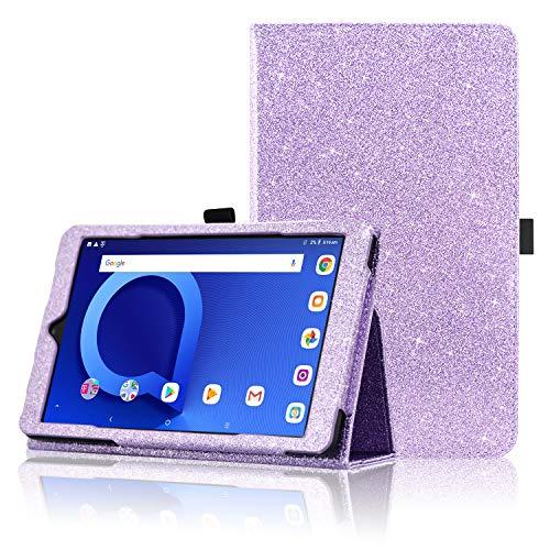 Alcatel 3T 8 Tablet Case, ACdream Folio Premium PU Leather Cover Case for Alcatel 3T 8 Inch Tablet (2018 Version), (Glitter Purple)