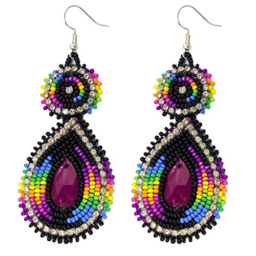 Handmade Seed Beaded Teardrop Hook Earrings (Purple Black)