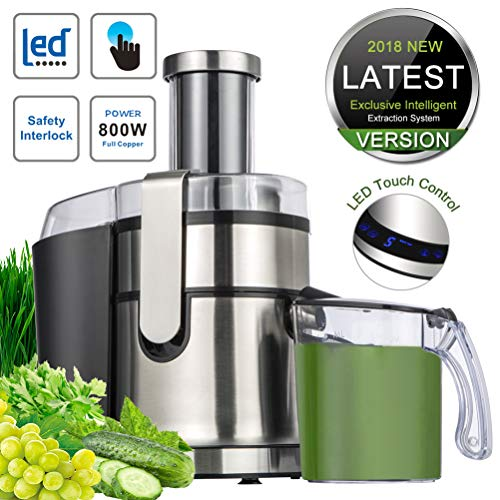 Extractor,Wide Mouth Masticating Juicer Machine LED Touch Control Function with Juice Jug,Anti-drip,800W-High Nutrient Fruit & Vegetable 15.7 x 10.6 x 7.9 (2019 New Version-LED Touch Control)