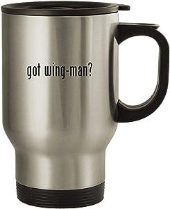 got wing-man? - 14oz Stainless Steel Travel Mug, Silver