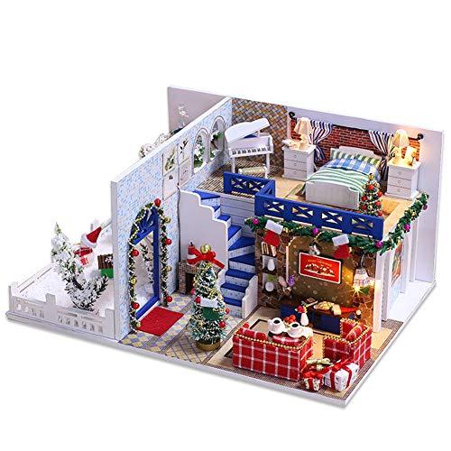NUAIPPP Kit Casa Muñecas DIY Miniatura Muebles Azure Navidad Niños Hechos A Mano Creativo Rompecabezas Madera