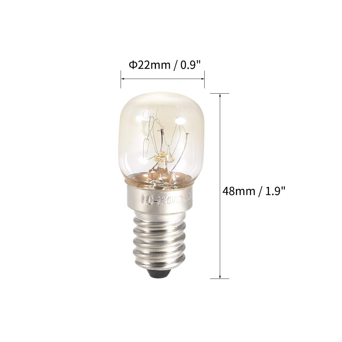 15W//AC 110-130v Yellow Warm Light uxcell 3pcs T22 E14S Microwave Replacement Bulbs for Most Ge Ovens Replaces Part Fits Intermediate E14S Base