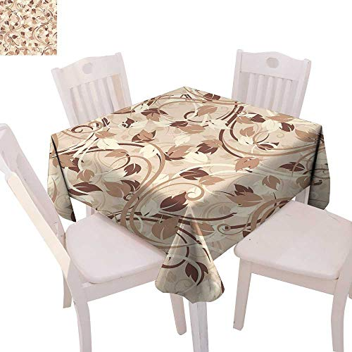 Ivory Patterned Tablecloth Autumn Leaves in Faded Earthen Tones Fall Season Branches Romance Illustration Dust-Proof Tablecloth 70
