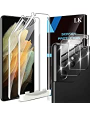 4 Pack LK 2pcs Screen Protector for Samsung Galaxy S21 Ultra 5G - 6.8 inch TPU Film + 2pcs Tempered Glass Camera Lens Protector for Samsung Galaxy S21 Ultra, Easy Installation Tray, HD Ultra-Thin