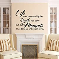 DigTour WallArt Vinyl Wall Decal Life is Not Measured by The Breaths You Take But by The Moments That Take Your Breath Away Living Room Decor£¨Medium,Black£