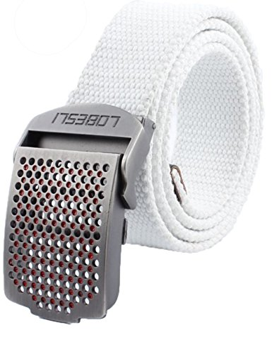 Menschwear Men's Adjustable Canvas Belt Metal Buckle Military Style W44 120CM White