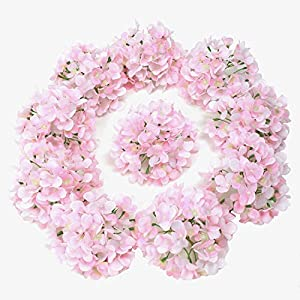 LUSHIDI Silk Hydrangea Heads with Stems Artificial Flowers Heads for Home Wedding Decor,Pack of 10 4