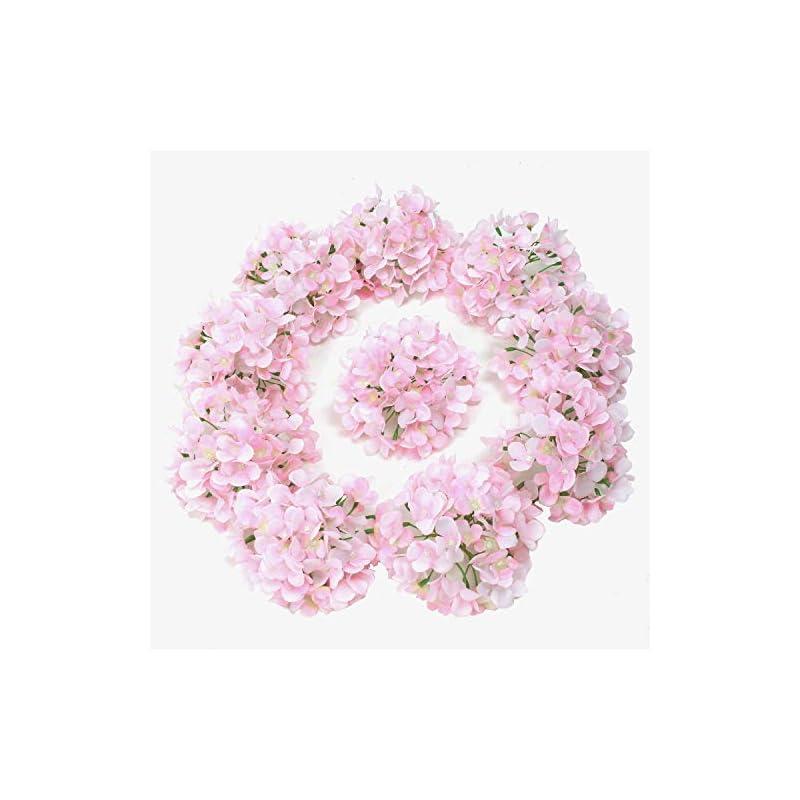 silk flower arrangements lushidi 10pcs silk hydrangea heads with stems artificial flowers for wedding party home decor (pink)