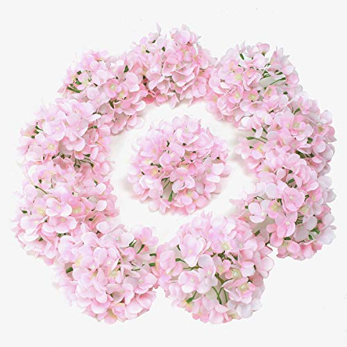 (LUSHIDI 10PCS Silk Hydrangea Heads with Stems Artificial Flowers for Wedding Party Home Decor (Pink) )