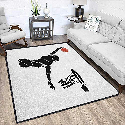 Youth Modern Abstract Floor Mat,Freehand Drawing Style Basketball Player Jumping Athlete Training Artwork for Dining Room Bedroom Cinnamon Black White 67