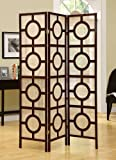 Monarch Specialties Frame 3-Panel Circle Design Folding Screen, Cappuccino