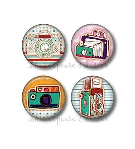 Retro Camera Art - Fridge Magnets - Camera Magnets - 4 Magnets - 1.5 Inch Magnets - Kitchen Magnets