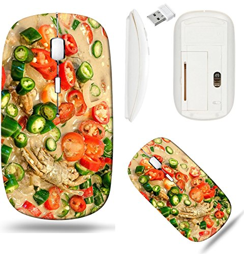 Liili Wireless Mouse White Base Travel 2.4G Wireless Mice with USB Receiver, Click with 1000 DPI for notebook, pc, laptop, computer, mac book Colorful of Crab stew with herb and spicy IMAGE ID 2189017