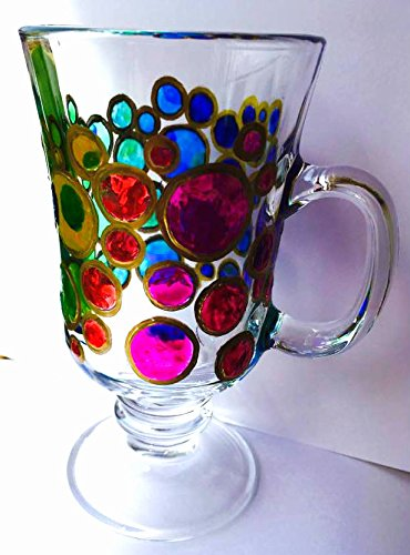 7ead8756c76 Image Unavailable. Image not available for. Color: Stained Glass Rainbow Sun  Catcher Bubbles Hand Painted Irish Coffee Mug ...