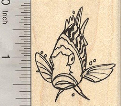 Striped Bass Fish Rubber Stamp, Marine Wildlife