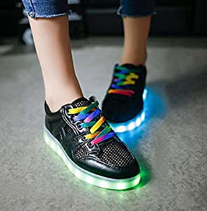 Pump Unisex USB Charging LED Fluorescent Shoes Couple Shoes Plate Shoes Dance Shoes Snekers Halloween Party Shoes 2017 Autumn And Winter New Eu Size 34-45 ( Color : Black , Size : 35 )