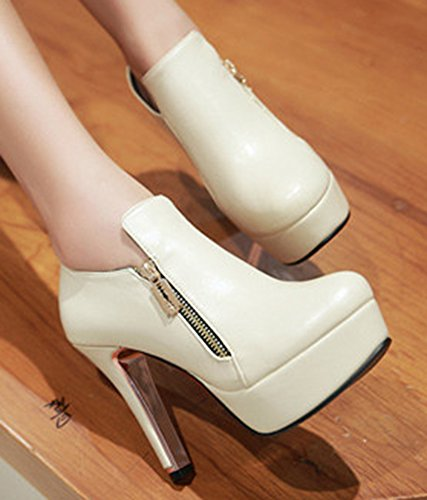 Boots IDIFU Womens Short Platform Fashion High Zipper Beige Side Chunky Booties Heel 6RYqWRrS