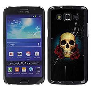 A-type Colorful Printed Hard Protective Back Case Cover Shell Skin for Samsung Galaxy Grand 2 II / SM-G7102 / SM-G7105 ( Skull Rose Night Space Death Stars )