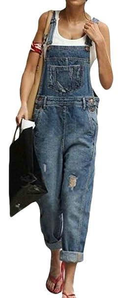46d9dceec56 Lutratocro Women Juniors Strap Jean Plus Size Jumpsuit Denim Hole  Distressed Bib Overalls Dark Blue XXS