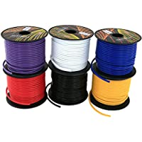 GS Powers 16 Gauge Ga, 6 Rolls of 100 Feet (total of 600') Car Audio Video Power Primary Remote Turn on Hook up Wire (Cable Color Set: Red, Black, Blue, Yellow, White, Purple)