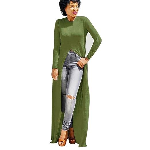 Amazon Com Womens Sexy Long Sleeve Front Split Dress Solid Cotton