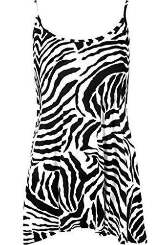 MA ONLINE Womens Plus Size Strappy Plain Cami Vest Top Ladies Sleeveless Fancy Casual Wear Swing Skater Mini Dress Zebra Print US 12-14 - Zebra Tank Dress
