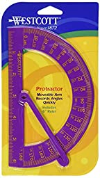 Westcott 180 Degree Protractor With Arm,6-Inch,Assorted Colors,  (14069)
