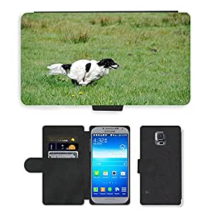 PU LEATHER case coque housse smartphone Flip bag Cover protection // M00108300 Perro Perro Pequeño Carrera rápida // Samsung Galaxy S5 S V SV i9600 (Not Fits S5 ACTIVE)