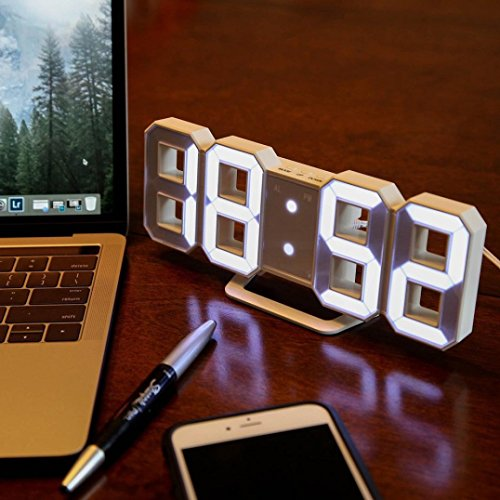 BB67 Clock Modern Digital LED Table Desk Night Wall Clock Alarm Watch 24 or 12 Hour Display (White) by BB67 (Image #3)