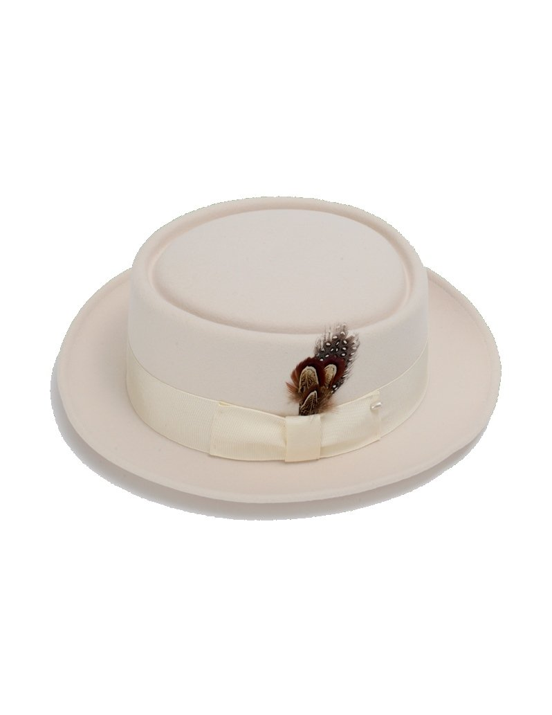 New Mens 100% Wool Cream (Off-White) Porkpie (Pork Pie) Hat