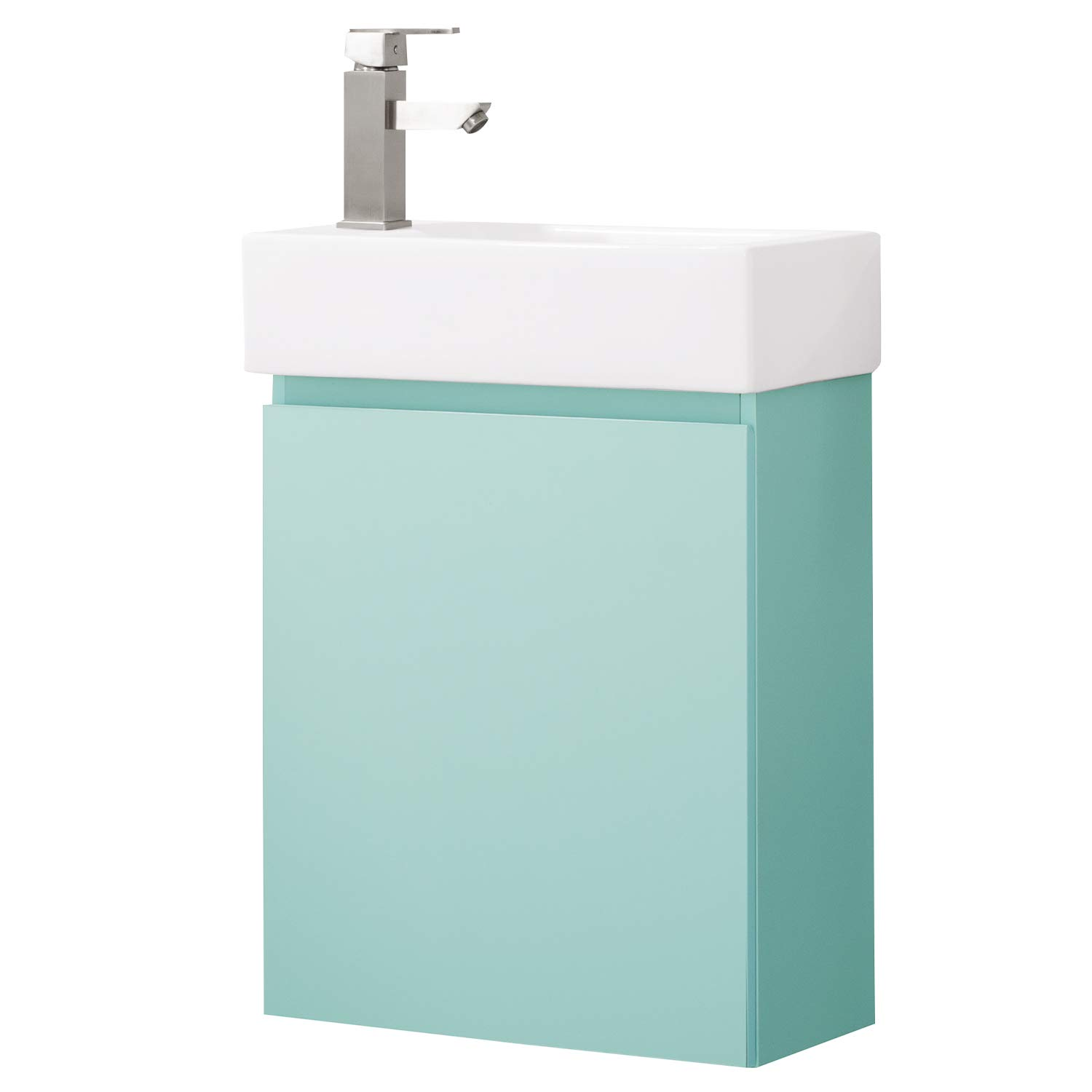Luca Kitchen & Bath LC20KRP Nova 20'' Bathroom Vanity with Sink in Blue Mint, Wall Hung Style, Made with Hardwood and Integrated Porcelain Top,