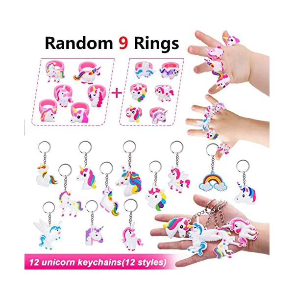 Klmars AB-112 Unicorn Theme Party Favor for Kids-96Pcs Tatoo-24Pcs Stamper-27 Pcs Rings Necklace Keychain-Birthday Party Supplies, Colorful 6