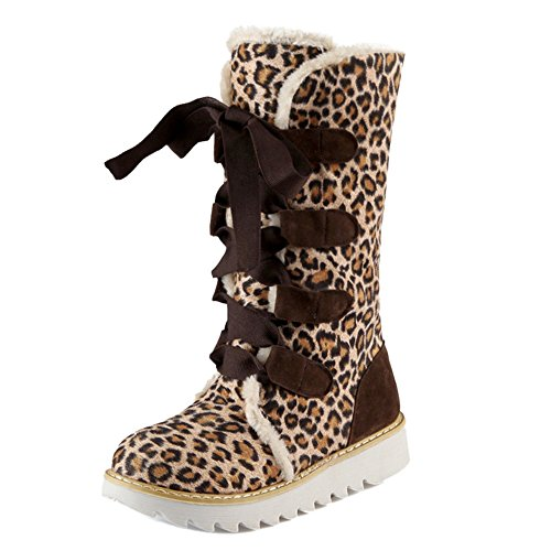 Shoes Snow TAOFFEN Boots Women's Leopard Up Lace 1OwfB6