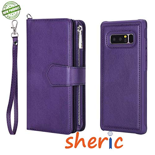 Galaxy Note 8 Case, Samsung Note 8 Wallet Case, Premium Synthetic Leather Flip Credit Card Holder Purse Wristlet Wrist Strap Ladies Full Body Rugged Shockproof Wallet Cover for Galaxy Note8 (Purple)