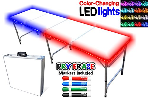 - PartyPongTables.com Portable Folding Table w/Dry Erase Surface, LED Lights & Markers