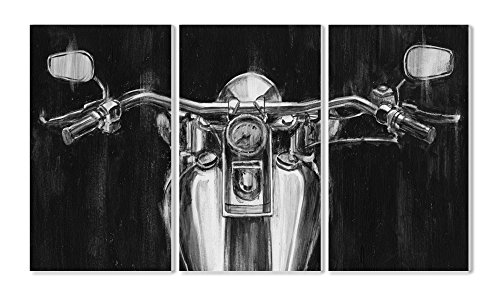 Black and White Classic Motorcycle Triptych Wall Plaque Art Set, 11 x 0.5 x 17, Proudly Made in USA (Motorcycle Plaque)