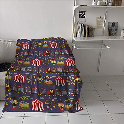"""Circus Fabric The Yard Blanket chair,Vintage Inspired Carousel Ferris Wheel and Clown Carnival Theme Park Pattern Animals,Lightweight All-Season Blanket,Warm All Season Blanket for 70"""" x 84"""""""