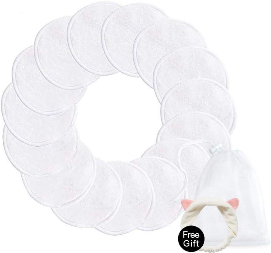 blanc CNNIK 16 pcs tampons d/émaquillants r/éutilisables avec bandeau oreille chat gratuit et sac /à linge