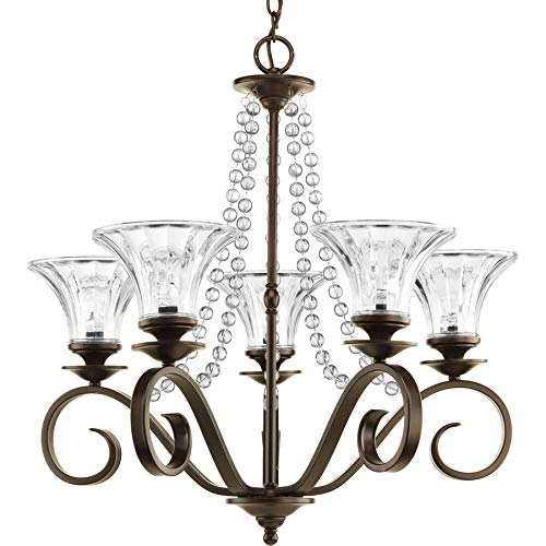 Progress Lighting Bliss 5-Light Antique Bronze Crystal Clear Glass Shaded Chandelier ()