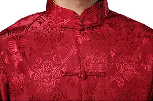 Blingland Chinese Traditional Uniform Top KungFu Shirt for Men US M Asia L-Red+Gold Photo #6