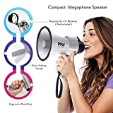 Portable Megaphone Speaker Siren Bullhorn - Compact and Battery Operated with 30 Watt Power, Microphone, 2 Modes, PA Sound and Foldable Handle for Cheerleading and Police Use - Pyle PMP33SL