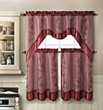 Cheap Daphne Embroidered Kitchen Curtain Set By Victoria Classics – Assorted Colors (Cinnamon)