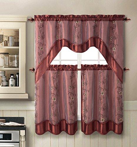 USA Daphne Embroidered Kitchen Curtain Set By Victoria