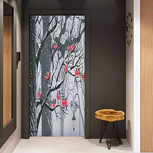 Onefzc Glass Door Sticker Decals Winter Cute Bullfinches