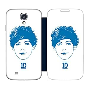 Official One Direction 1D Louis Blue Graphic Faces Dark Blue Flip Case Replacement Battery Back Cover for Samsung Galaxy S4 I9500