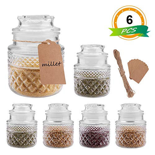 Glass Food Storage Canisters Jars with Tight Lids for Kitchen or Bathroom ~ Food,cookie,cracker, Storage Containers-35oz(Set of 6) (Glass Cookie Canister)