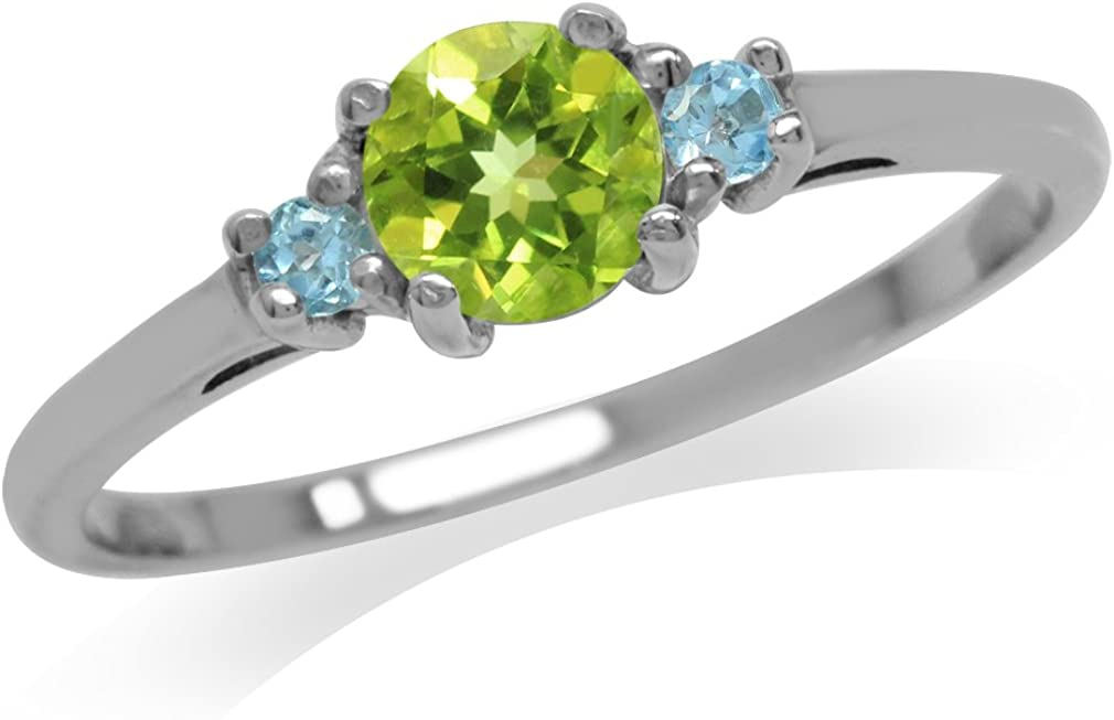 Silvershake Petite Natural Peridot and Swiss Blue Topaz White Gold Plated 925 Sterling Silver Ring