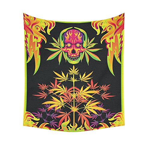 Interestprint Skull Leaves Plants Marijuana Tapestry Vertical Wall Hanging Colorful Psychedelic Wall Decor Art for Living Room Bedroom Dorm Cotton Linen Decoration 51 X 60 Inches
